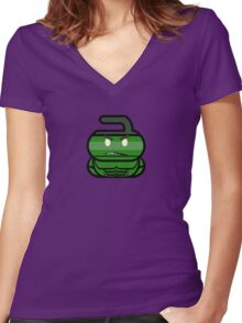 The Big Guy - Curling Rockers Women's Fitted V-Neck T-Shirt