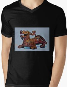 Psychedelic Dragon Mens V-Neck T-Shirt