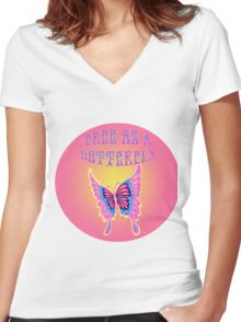 Free As A Butterfly Women's Fitted V-Neck T-Shirt