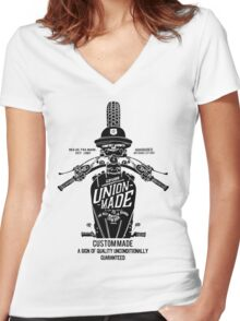 Custom Made, Union Made Motorcycle Women's Fitted V-Neck T-Shirt