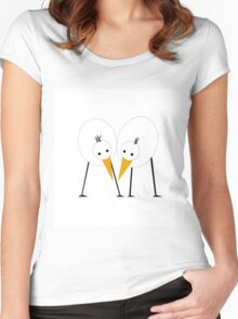 Happy couple of birds Women's Fitted Scoop T-Shirt