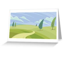 Green hill landscape  Greeting Card