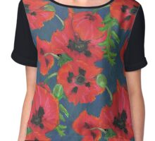Bright Red Oriental Poppies Floral Pattern Blue Chiffon Top