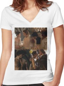 Outlander Wedding collage/Jamie & Claire Fraser/ Women's Fitted V-Neck T-Shirt