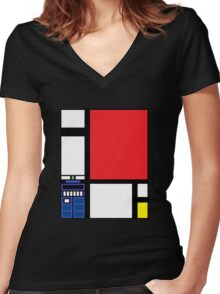 Dr. Who Composition in Red, Blue, and Yellow Women's Fitted V-Neck T-Shirt