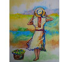 Woman on a Windy Day Photographic Print