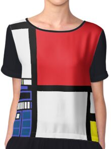 Dr. Who Composition in Red, Blue, and Yellow Chiffon Top