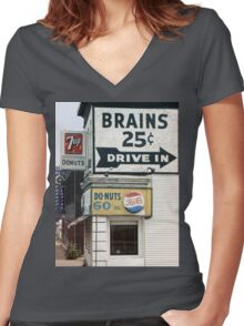 Brains 25 Cents Women's Fitted V-Neck T-Shirt