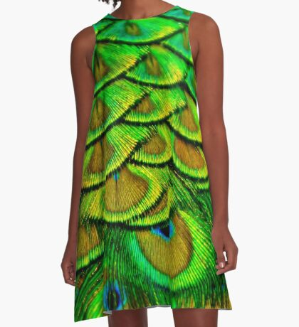 Peacock Feathers A-Line Dress