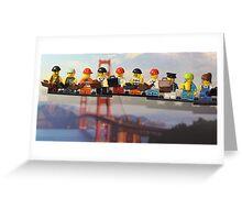 High-rise lunch break, Golden Gate Bridge Greeting Card