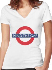Mind The Gap - British - London Underground Design Women's Fitted V-Neck T-Shirt