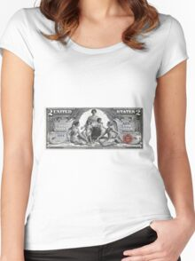 Two U.S. Dollar Bill - 1896 Educational Series  Women's Fitted Scoop T-Shirt