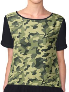 military texture Chiffon Top