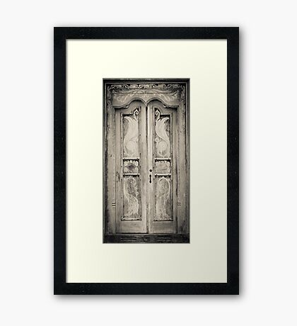 The door of the white building at the entrance to the Royal Rock Temple complex location Dambulla Framed Print