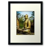 Buddha statue seated around stupa of The Polonnaruwa Vatadage Framed Print