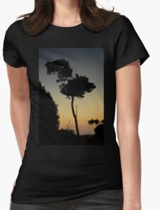 Lone tree, Setting Sun. Womens Fitted T-Shirt