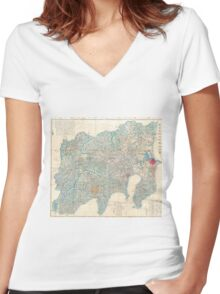 Vintage Map of Tokyo and Mt. Fuji Japan (1843) Women's Fitted V-Neck T-Shirt