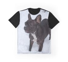 Black French Bulldog Loves To Play In The Snow Graphic T-Shirt