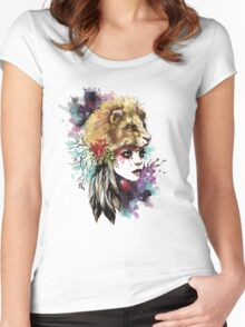 girl and lion Women's Fitted Scoop T-Shirt