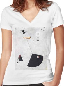 In the style of Miro Women's Fitted V-Neck T-Shirt