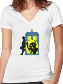 Who's There? Women's Fitted V-Neck T-Shirt