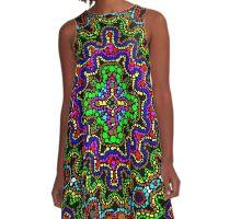 Florescent Beaded Aztec Pattern  A-Line Dress