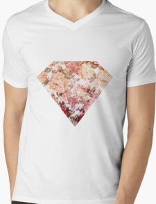 Floral Diamond Mens V-Neck T-Shirt