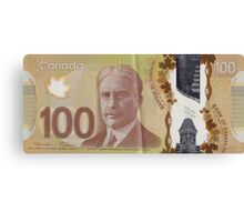 One Hundred Canadian Dollar Bill Canvas Print