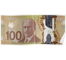 One Hundred Canadian Dollar Bill Poster