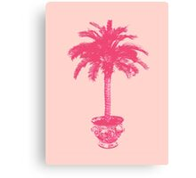 Potted Palm Tree - coral pink Canvas Print