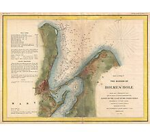 Vintage Martha's Vineyard Holmes Hole Map (1847) Photographic Print