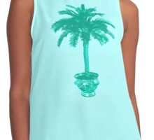 Potted Palm Tree, turquoise and aqua Contrast Tank