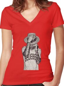 JUSTIN BIEBER Women's Fitted V-Neck T-Shirt