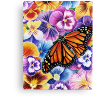 Pansies and Butterfly Canvas Print