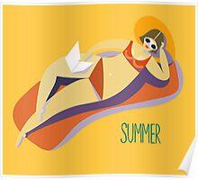 Retro girl on a beach Poster
