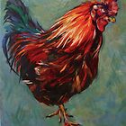Brown rooster, Inis Mor, Isle of Aran. 2012Ⓒ Oil on canvas. 51.x41cm SOLD by Elizabeth Moore Golding