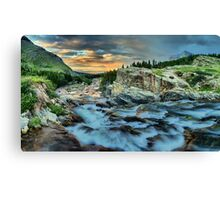 Swiftcurrent Falls Sunrise Canvas Print