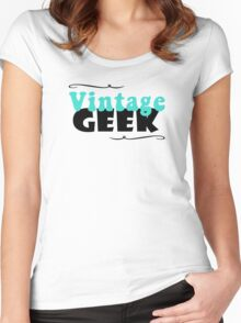 Vintage Geek Retro Typography Aqua Turquoise Blue & Black Women's Fitted Scoop T-Shirt