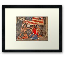 African Girl in front of a Graffiti of Black gils and US Flag Framed Print