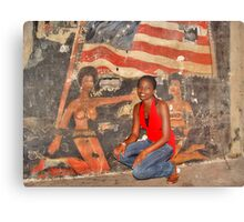 African Girl in front of a Graffiti of Black gils and US Flag Metal Print
