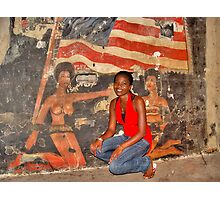 African Girl in front of a Graffiti of Black gils and US Flag Photographic Print