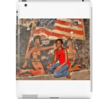 African Girl in front of a Graffiti of Black gils and US Flag iPad Case/Skin