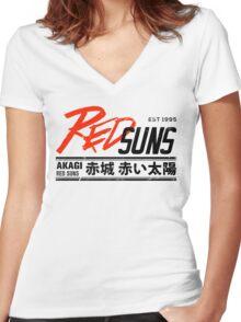 Initial D - RedSuns Tee (Black) Women's Fitted V-Neck T-Shirt