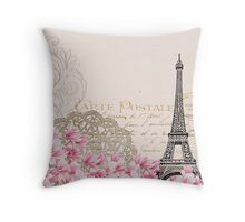 Blush,pink,rustic,floral,Eiffel tower,Paris,collage, Throw Pillow