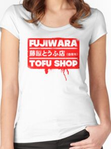 Initial D - Fujiwara Tofu Shop Tee (Red Box) Women's Fitted Scoop T-Shirt