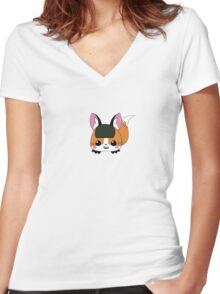 Cosplaying Sushi Fox Women's Fitted V-Neck T-Shirt