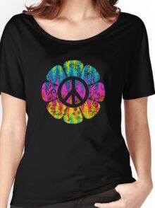 Colorful Peace Symbol Flower Women's Relaxed Fit T-Shirt