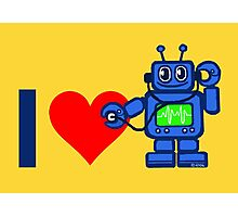 I heart robot, robot listen to heart Photographic Print