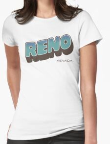 Reno - Retro Postcard Style Womens Fitted T-Shirt