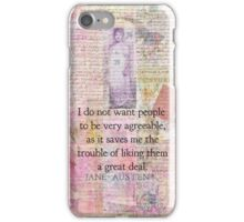 Jane Austen whimsical humor people quote iPhone Case/Skin